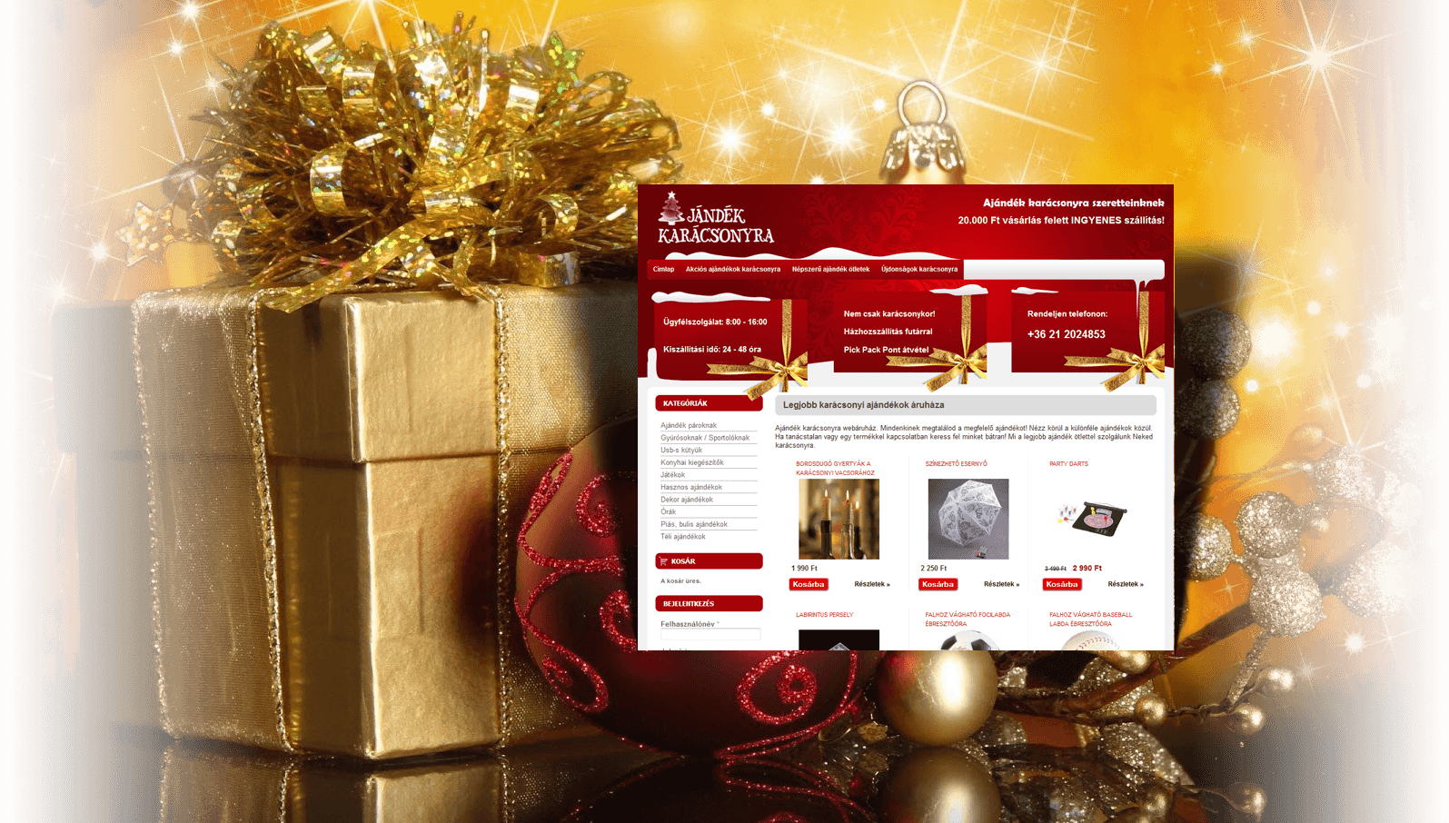 Ajándék karácsonyra drupal webáruház